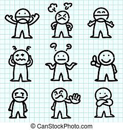 Dibujos animados en papel gráfico.