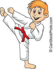 Dibujos animados haciendo artes marciales
