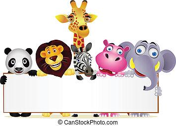 Dibujos animados y señales en blanco