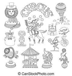 Dibujos artísticos en línea negra y blanca de temática de circo