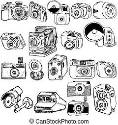 dibujos, cámara fotográfica de la foto