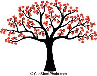 Dibujos de árbol de amor estilizados hechos de