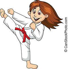Dibujos de chicas haciendo artes marciales