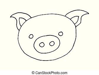 Dibujos de dibujos animados de dibujos animados dibujados a mano imagen de cabeza de cerdo en un fondo blanco