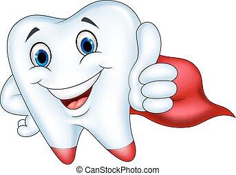 Dibujos de dientes de superhéroe con pulgar