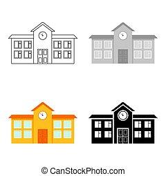 Dibujos de icono de la escuela. Unico icono de la gran ciudad de dibujos de infraestructura.