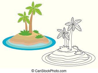 Dibujos de isla. Libro de color. Actividad para niños.