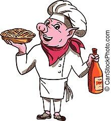 Dibujos de la botella de vino de pastel de cerdo
