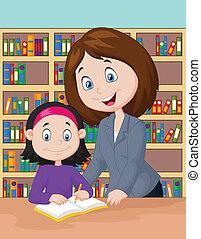 Dibujos de maestro ayudando a estudiar a los alumnos