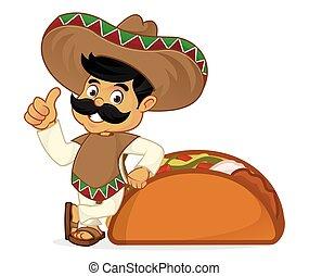 Dibujos de mexicanos apoyados en tacos