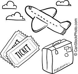 Dibujos de objetos de viaje aéreo