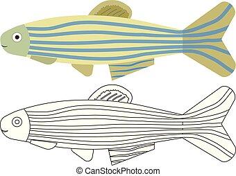 Dibujos de peces. Libro de color. Actividad para niños.