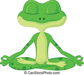 Dibujos de rana haciendo yoga