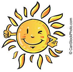 Dibujos de sol con pulgar hacia arriba