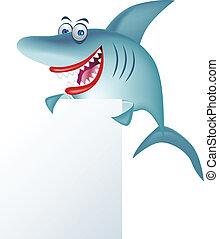 Dibujos de tiburón y señales en blanco