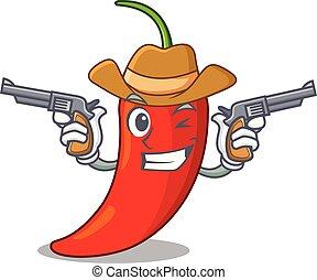 Dibujos de vaquero rojo picante natural chile picante
