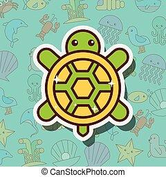 Dibujos de vida marina tortuga