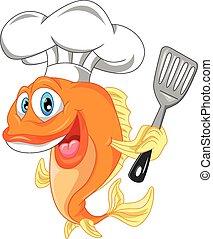 Dibujos del chef de pescado