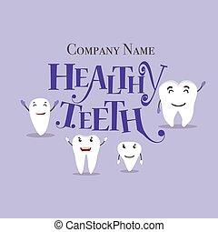 Dibujos dentales. Dientes felices y saludables. Ilustración de vectores