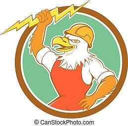 Dibujos en círculo de relámpagos eléctricos de águila calva