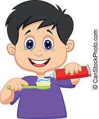 Dibujos infantiles exprimiendo pasta de dientes