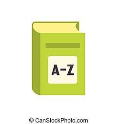 diccionario, inglés, plano, icono