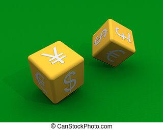 Dices con símbolos de moneda a sus costados