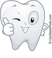 diente, arriba, pulgares