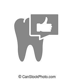 diente, burbuja, gesto, oral, icon., pulgar, gris, cavidad, arriba, charla, símbolo, órgano