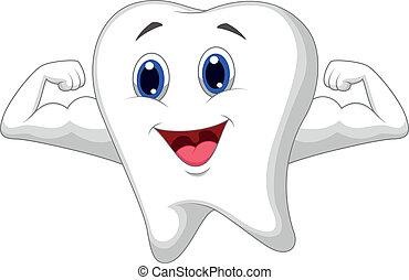 diente, caricatura, fuerte