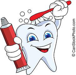 Diente con cepillo y pasta de dientes