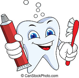 Diente con pasta de dientes y cepillo