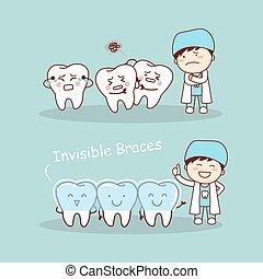 diente, fierros, lindo, caricatura, invisible