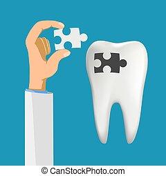 diente, humano, caries., agujero, filling.