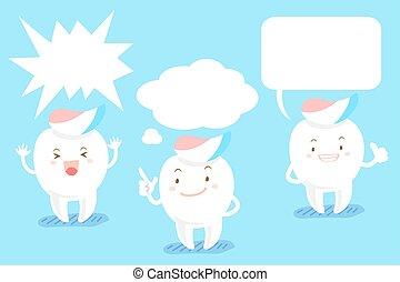 Dientes de caricatura con burbuja de habla