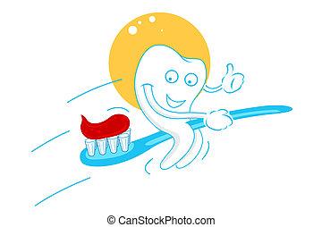 Dientes felices con pasta de dientes
