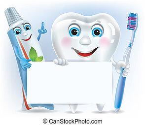 Dientes graciosos, pasta de dientes y cepillo de dientes de blanco