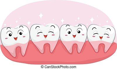 dientes, sano, ilustración, feliz