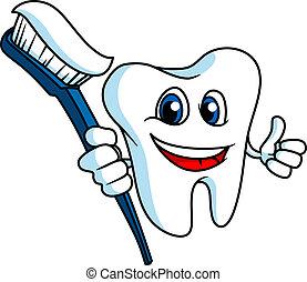 Dientes sonrientes con cepillo de dientes