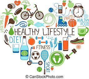Dieta de estilo de vida saludable y signo del corazón