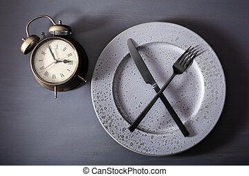 dieta, placa, peso, concepto, ketogenic, ayuno, alarmclock, tenedor, intermitente, cuchillo, loss., cruzado