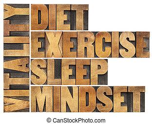 Dieta, sueño, ejercicio y mentalidad, vitalidad