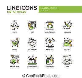 Dieta y fitness - línea de diseño iconos establecidos