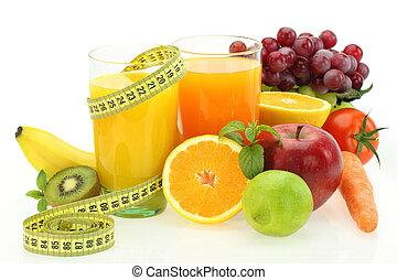 Dieta y nutrición. Frutas frescas, verduras y jugo