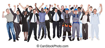diferente, éxito, gente, ocupaciones, celebrar, excitado