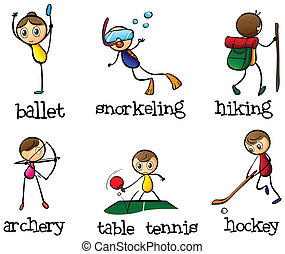 diferente, actividad de deportes
