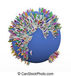 diferente, alrededor, colorido, gente, globo, tierra, mundo, 3d