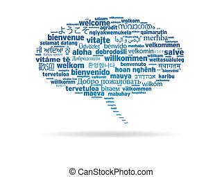 diferente, bienvenida, -, idiomas, burbuja del discurso