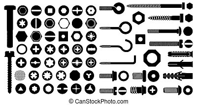 diferente, blanco, tornillos, plano de fondo, conjunto