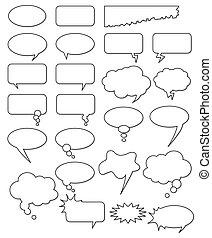 diferente, cómicos, web., corregir, colección, o, formas, agregar, vector, texto, fácil, size., cualesquiera, vacío